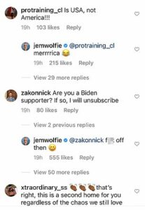 Jem Wolfie's replies to angry commenters.