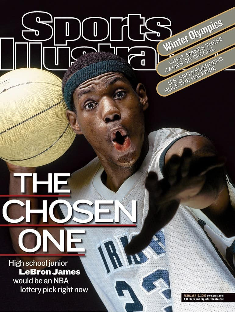 LeBron James in the cover of Sports Illustrated magazine nicknamed as The Chosen One