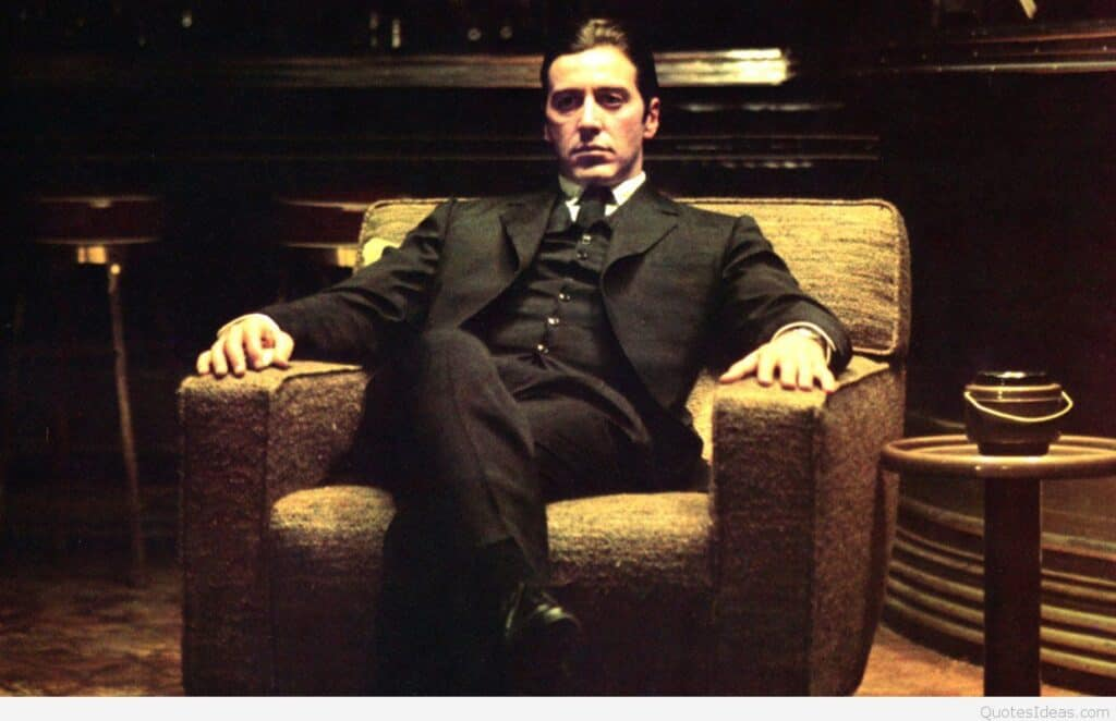 Al Pacino in his movie, Godfather.
