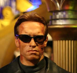 Arnold Schwarzenegger look in Terminator Movie. Movies add up to millions in his net worth