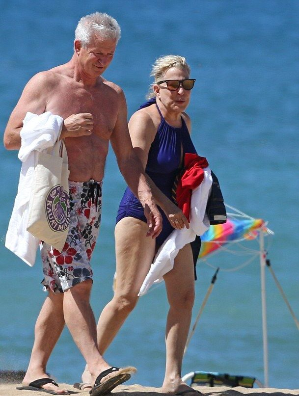 Bette Midler with her husband on a vacation at the beach in Hawaii