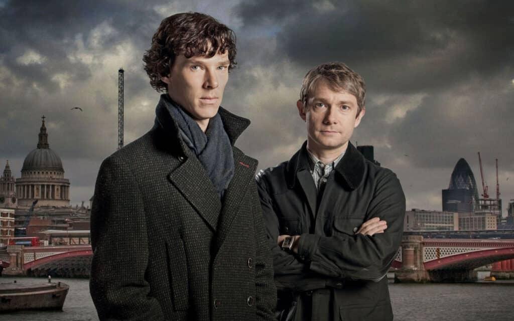 Benedict Cumberbatch and Martin Freeman in Sherlock Tv Series.