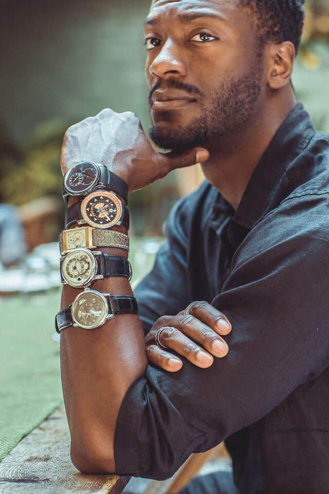 Aldis Hodge with a few of his watch collection
