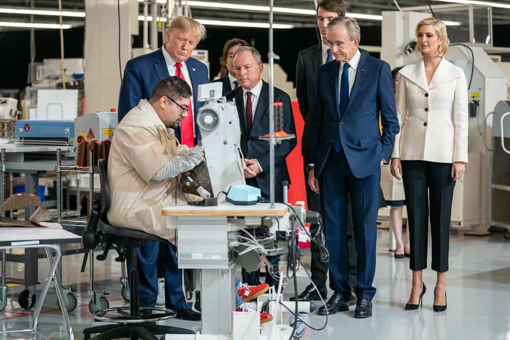 Bernard Arnault with President Donald Trump in Rochambeau factory of Louis Vuitton