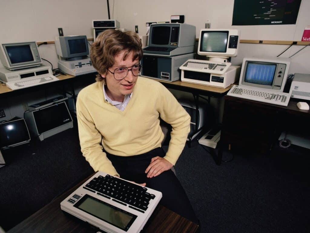 Bill Gates working on his computers