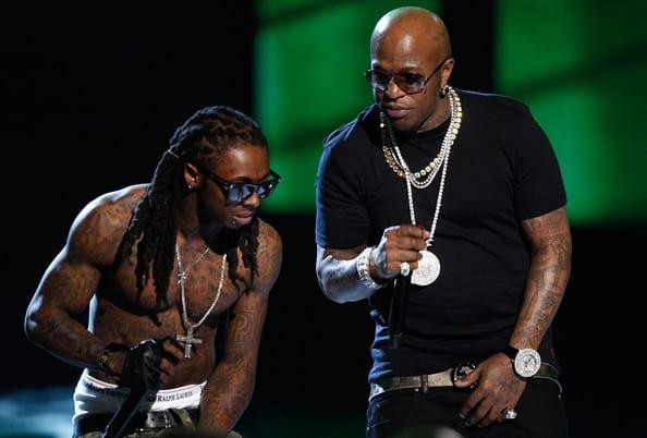 Birdman on-stage with Lil Wayne