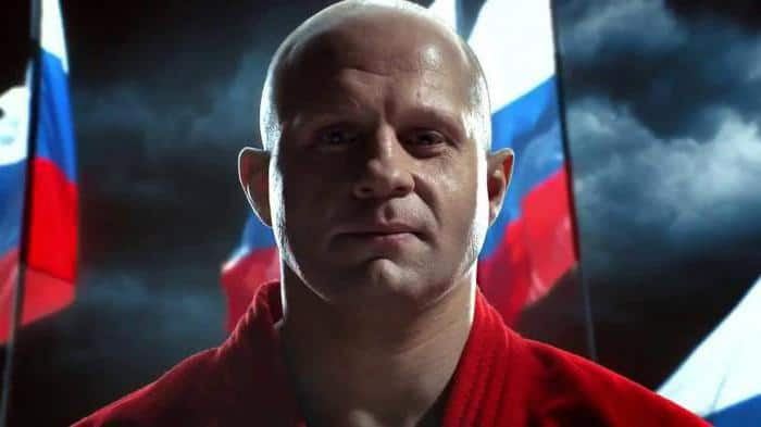 Fedor cover picture along with Russian flags.