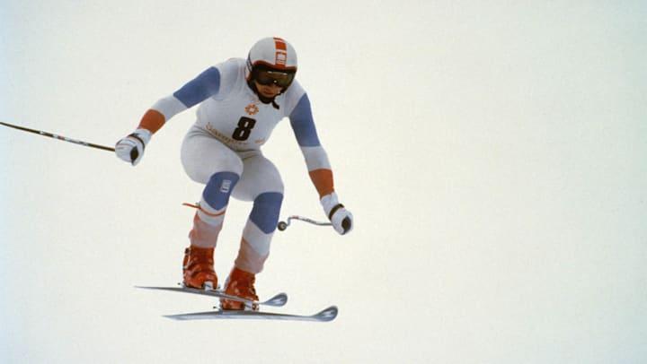 Franz Klammer in a downhill race