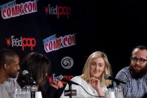 Ashley Johnson with Rob Brown and Audrey Esparza during Blindspot pannel at Newyork.