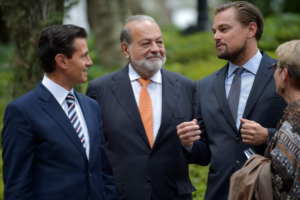 Carlos Slim with Leo DiCaprio and President Enrique Nieto