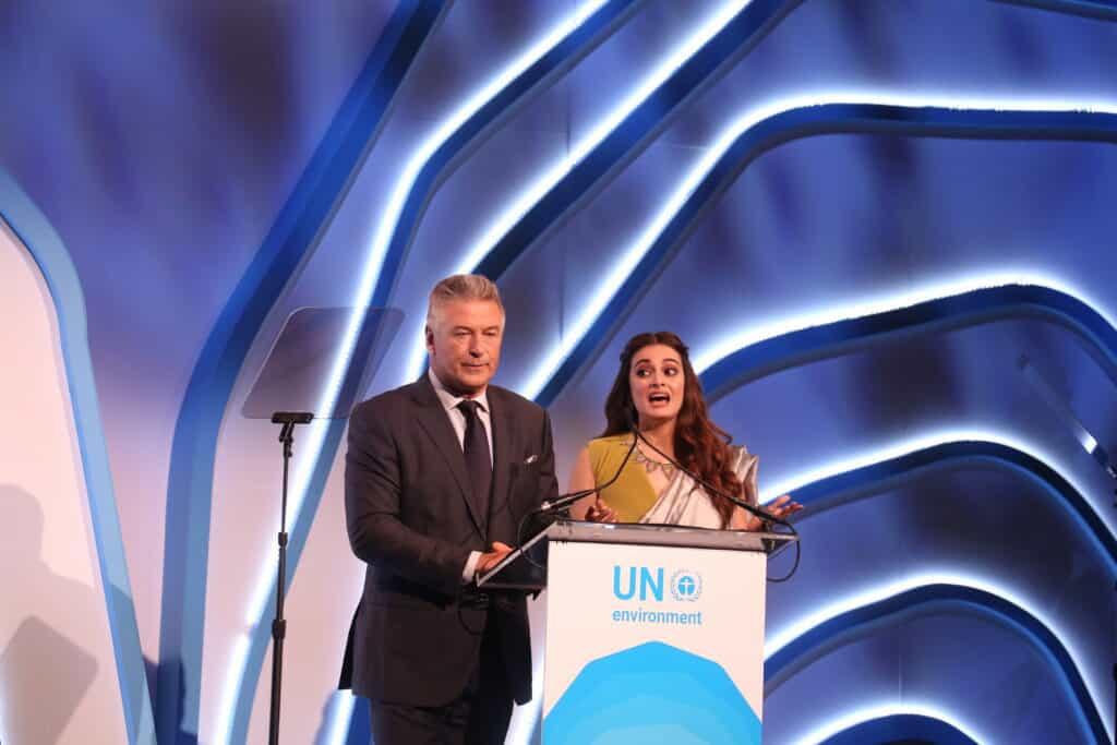 Alec Baldwin with Diya Mirza at UNEP Annual Awards.