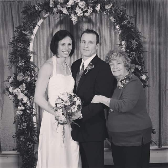 Jenn Suhr with her husband and late mother-in-law.