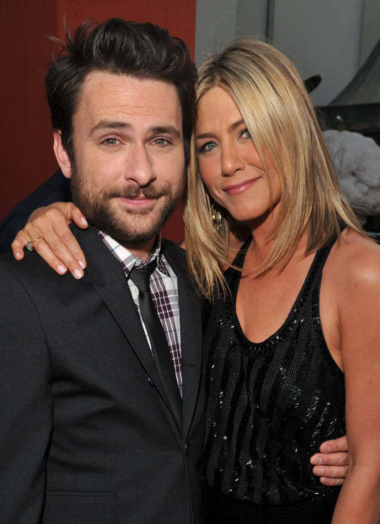 Jennifer Aniston and Charlie Day posing in Horrible Bosses Event