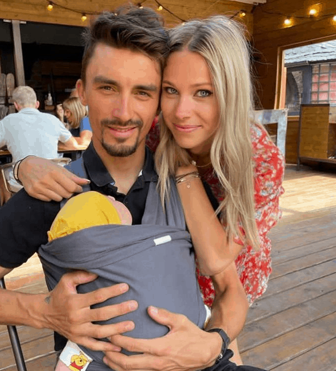 Julian Alaphilippe with his Wife and Son