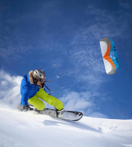 A man enjoying snowkiting, one of the winter sports