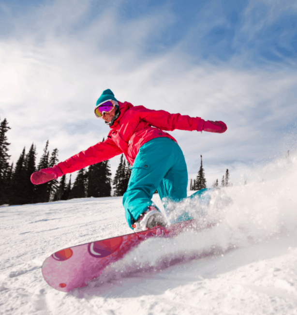 A thrilling snowboarding ride