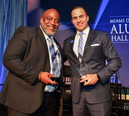 Sanchez holding his Emma Award
