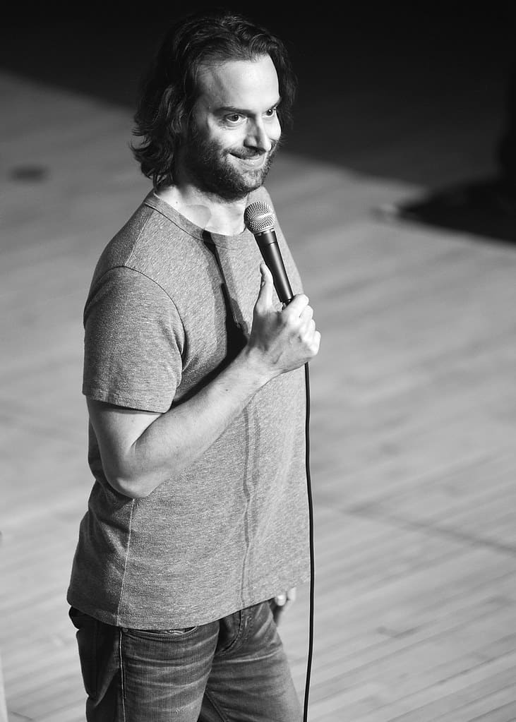 Chris D'Elia reacts during a performance.