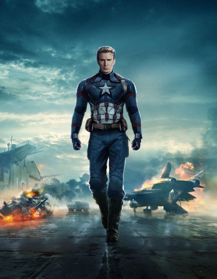 Chris Evans in his Captain America suit.