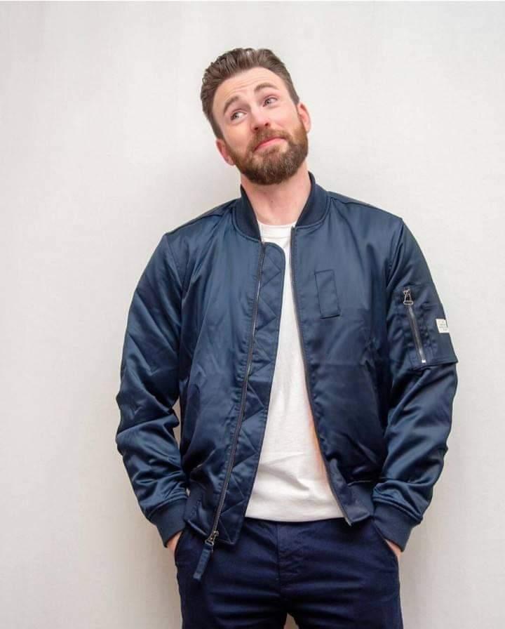 Chris Evans posing during a shoot.