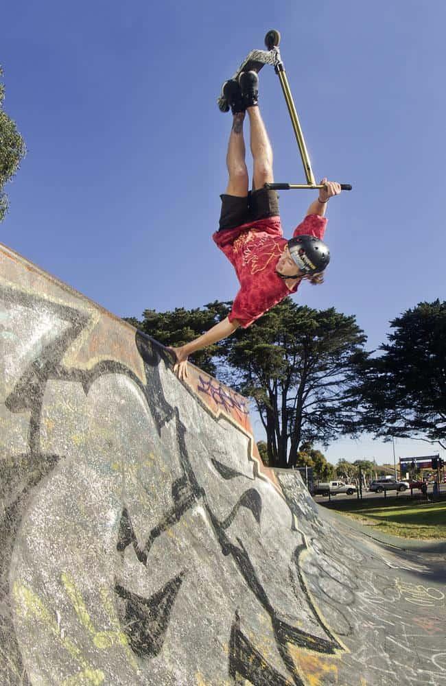 Dylan Morrison performing some insane tricks in a skate park. (Source: heraldsun.com.au)
