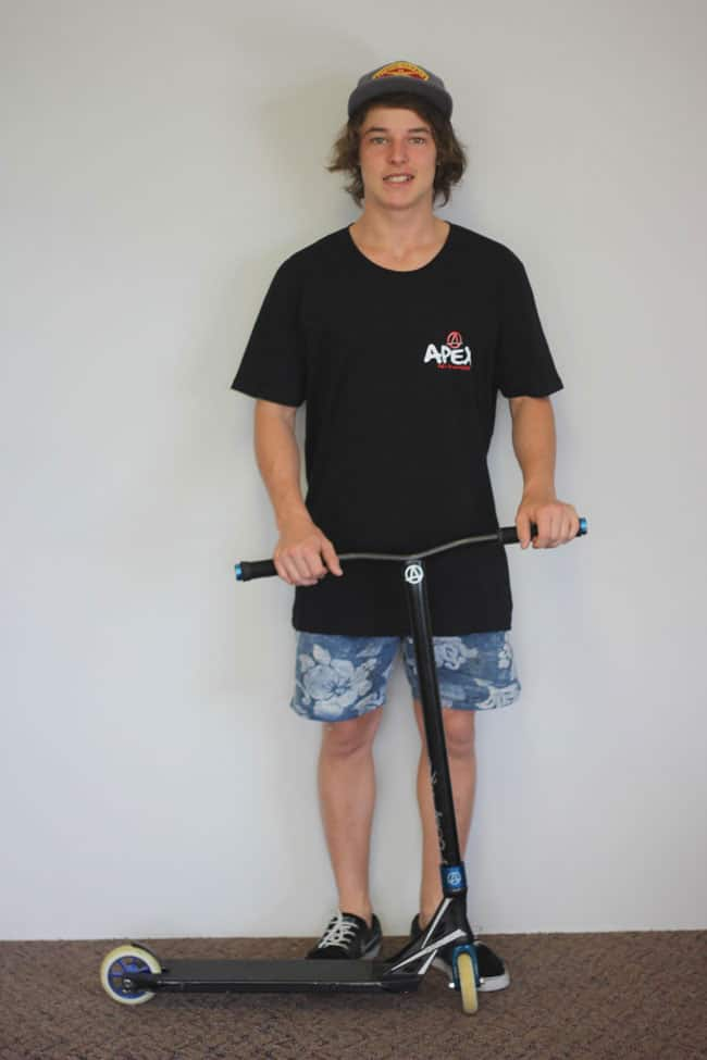 Robbie Menzies posing as an Apex Pro Rider. (Source: apexproscooters.com)