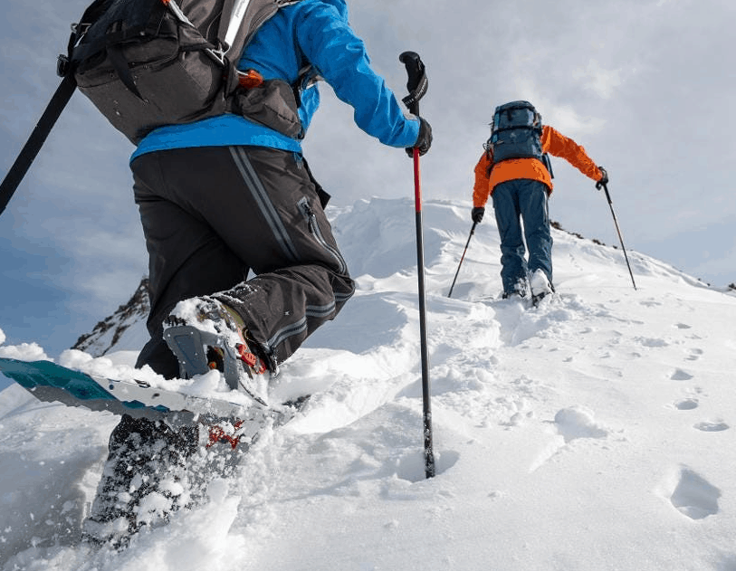 Snowshoeing on a snowy mountain