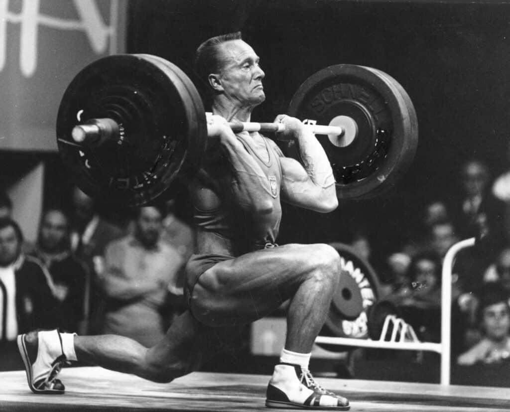 Waldemar Baszanoski during weightlifting event.