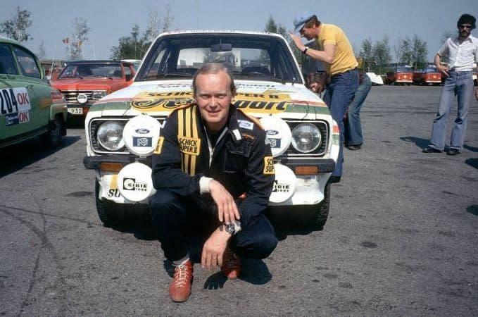 Bjorn Waldegard with his Rally Car