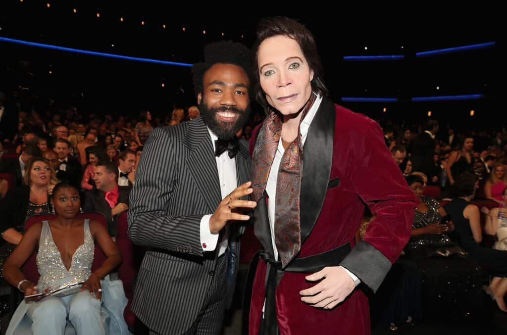 Donald Glover with Teddy Perkins at the Emmys.