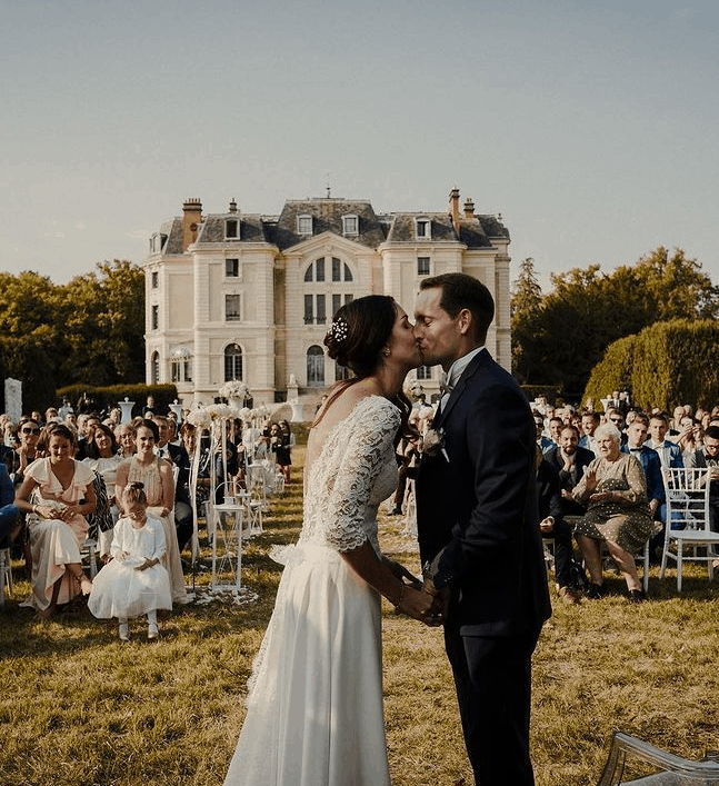 Renaud Lavillenie with his wife on the wedding day