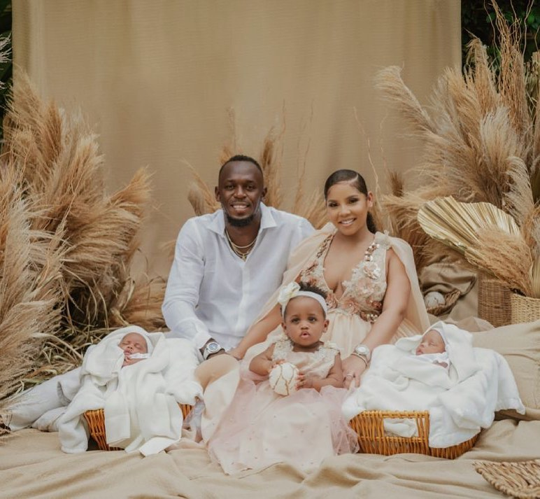 usain-bolt-and-his-wife-with-their-childrens
