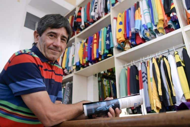 Pablo Falero in front of jersey cupboard