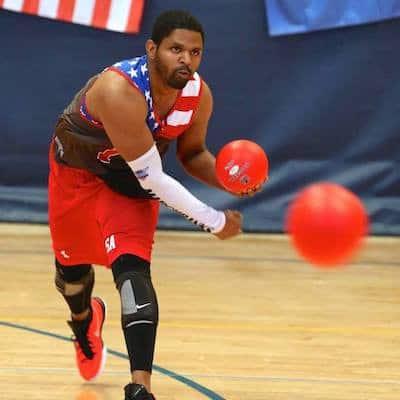Vince Marchbanks playing dodgeball.